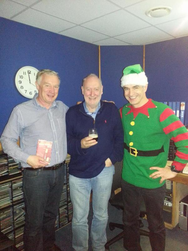 (L to R) John Wilson  (wine expert), Declan Meehan  (radio presenter), and Pete the Vet (elf and vet)