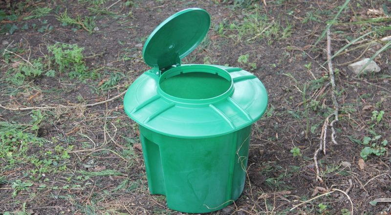 The doggydooley dog waste disposal before it is buried in the ground
