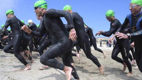 Triathletes at the start of a race